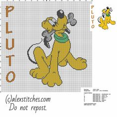 Pluto Disney Mickey Mouse character free cross stitch pattern big size