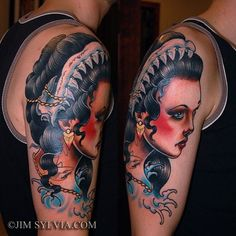 Arm/shoulder color tattoo of female with shark jaw.  Neo-traditional style. tattooculturemagazine: Tattoo by Jim Sylvia.      //     //