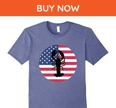 Mens Lobster and the American Flag T-Shirt - 4th of July Tee Large Heather Blue - Cities countries flags shirts (*Amazon Partner-Link)