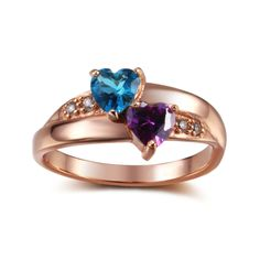 Post Included Aus Wide and to most international countries! >>> Double Hearts 925 Sterling Silver Ring - 18K Rose Gold Plated