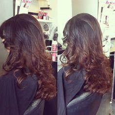 Subtle brunette ombre hair, wavy / curly   Nazia Haq@ Hairsalon Derya Genk Belgium