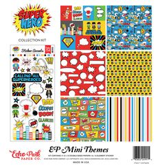 Echo Park Super Hero 12x12 Scrapbook Collection Journal Cards Superhero Comics Super Power Cartoon Action Figures Boom Pow Speech Bubbles by InkyHotMess on Etsy