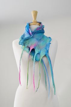 Beautiful nuno felted silk scarf with superfine Australian Merino wool Nuno Felt Scarf, Handmade Scarves, Nuno Felting, Mulberry Silk, Wool Felt, Merino Wool, Fiber, Etsy Seller, Creative