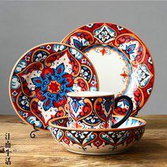 瓷器摆件_瓷器摆件异域风情陶瓷餐具水杯家用菜浅大小 - 阿里巴巴