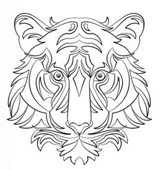 Tigre Abstracto Dibujo para colorear