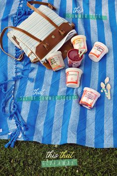 """Our new Awning Stripe Throw in the background of @Joy Cho / Oh Joy!'s super cute """"this & that"""" summer giveaway!"""