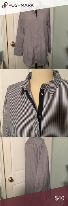 J Crew button front woven shirt size 10 This woven striped tunic is from J Crew. Size 10. Navy and white stripe. Has a gros grain ribbon at inside placket. Sides to have a slit. Never worn with tags. J. Crew Tops Tunics