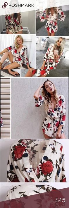 Autumn Floral romper Super quality and pretty. Material: Rayon and silk blended.  Measurement: length/ bust/shoulder/ waist/ sleeve length (inches)  S: 31.5/37.15/25.2-26.8/20.1 M-31.8/38.5/15.4/26.8-28.3/20.5 L: 32.3/39.5/15.7/28.3-29.9/20.9 XL32.7/40.5/16.1/30-31.5/21.1 Boutique  Tops