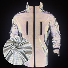 This jacket is made of perforated reflective fabric, it significantly improves wearers' comfort in hot and sweaty environment to avoid overheat and stay cool. Now the perforated reflective fabric is very popular in the fashion industry. Fashion Group, Fashion Outfits, Industrial Style, Nike Jacket, Environment, Weather, Popular, Cool Stuff, Board