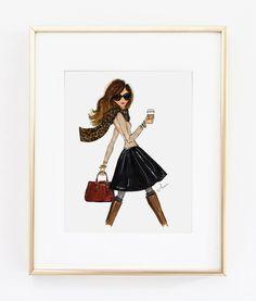Illustration Print la fille de l'automne 8 x 10  de mode par anumt