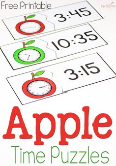 These free printable time puzzles with an apple theme are perfect for learning to tell time! Love it for my apple themed lessons!