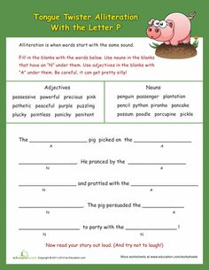 "Worksheets: Alliteration Tongue Twisters: ""P"" More"