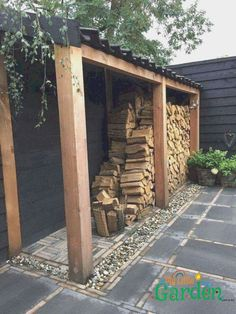 Creative DIY Outdoor Firewood Rack Ideas for Storage - . can find Custom woodwork and more on our website.Creative DIY Outdoor Firewood Rack Ideas for Storage - . Garden Shed Diy, Garden Tool Storage, Garden Fencing, Outdoor Firewood Rack, Firewood Storage, Outdoor Storage, Backyard Farming, Fire Pit Backyard, Wood Shed