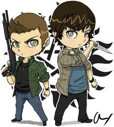Chibi- Winchester Brothers by Psychotic-Mayhem.deviantart.com on @deviantART