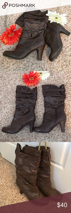 """The Perfect Fall Slouchy Boot❤️🍂 EUC! Only worn once! Some small scuffs around the heel (4th pic) but otherwise they look like new! Vegan. Size 8.5, heel height approx 3.5"""". Extremely comfortable! Sad to part with these, had surgery and can't wear heels any longer. I'm about 5'5"""", these come up just short of mid-calf on me. Bamboo Shoes Heeled Boots"""