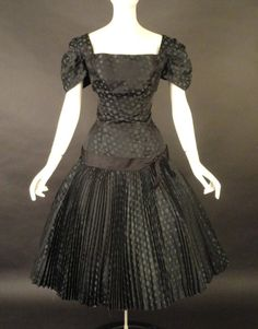 1950s MOLLIE PARNIS http://vintage-martini.myshopify.com/collections/couture-clothing-pre-1950s/products/mollie-parnis-1950s-black-silk-polka-dot-dress-new-item