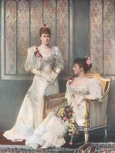 Although this isn't a picure of the bride, I loved it so much, I thought this was the best place to pin it! Princess Victoria and Princess Maud at George V wedding 1893. Victoria never married. She became a companion to her Mother.