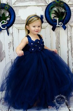 Navy Blue Flower Girl Dress by FrillyFairyTales on Etsy