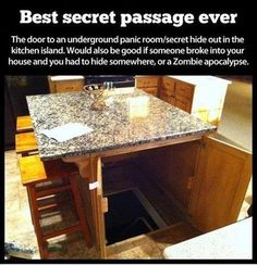Hidden panic room/play room/ pantry under the island!
