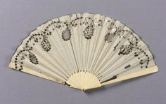 Fan. American, made in England or Contintental Europe, early 19th century. Plain weave silk, ivory, lace, sequins, silver gilt - in the Museum of Fine Arts Boston.