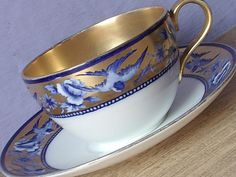 Antique Shelley tea cup and saucer Swallows Gold by ShoponSherman