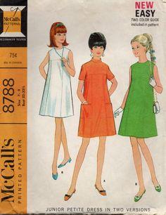 McCalls 8788 1960s Junior Petite TENT DRESS Pattern by mbchills