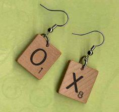 scrabble tile earrings ~