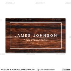 MODERN & MINIMAL DARK WOOD - CONSTRUCTION Double-Sided STANDARD BUSINESS CARDS (Pack OF 100)