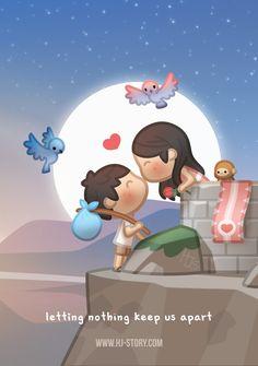 Nothing can keep us apart - HJ-Story Hj Story, Cute Love Stories, True Stories, Love Story, America Movie, Cute Romance, Cute Love Cartoons, Couple Cartoon, Flirting Humor