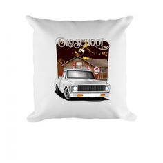 fa587ec45e2b32 White 1972 Chevy Pick Up truck Old School Printed Throw Pillow