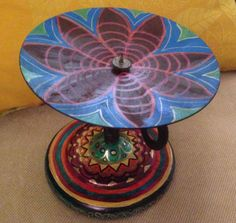 """Hand Painted Bohemian Metal Quilt Design Candle Holder  6""""Hx7""""Wx 7""""D"""