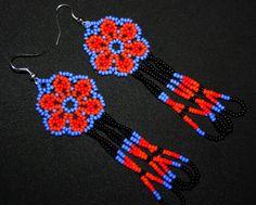 Huichol Earrings Huichol Jewelry Native by BiuluArtisanBoutique