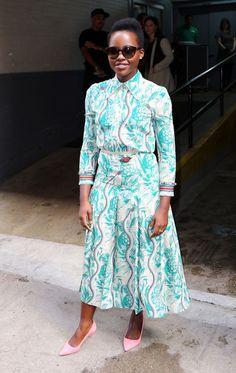 Lupita Nyongo in Gucci Spring/Summer 2016 Floral Ensemble