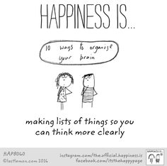 """PROJECT LIFE CARD """"Happiness is making lists of things so you can think more clearly"""" (written reminder notes taped everywhere)"""