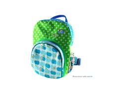 Kinderrucksack Grünblau Apfeldesign von jetzt-wirds-bunt auf DaWanda.com