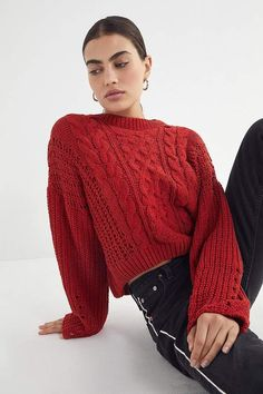 f44e4a2395a UO Lily Chenille Cable Knit Sweater
