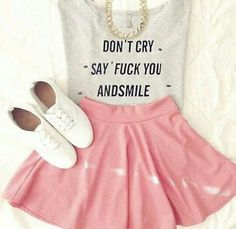 I like this outfit. All though this shirt is something u couldn't get away with at school.