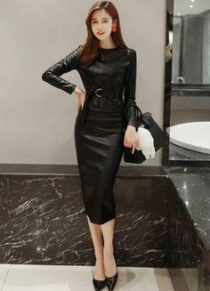 [Rakuten market] Cool two-piece leather two-piece ladies two-piece wild with a presence: Fairy Garden Tight Dresses, Satin Dresses, Leather Dresses, Leather Skirt, Girl Fashion, Fashion Outfits, Womens Fashion, Mode Latex, Hobble Skirt