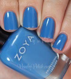 Zoya Nail Polish in Ling Nail Polish Sale, Blue Nail Polish, Nail Polish Designs, Cute Nail Designs, Blue Nails, Hair And Nails, My Nails, Nail Techniques, Nail Polish Collection