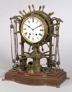Figural Bronze and Marble Ship's Bell Clock, late 19th century.
