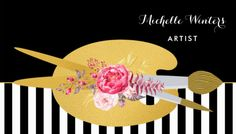Floral Black and White Stripes Artist With Faux Gold Paint Brush Business Cards http://www.zazzle.com/pd/spp/pt-zazzle_profilecard?dz=d4713c68-e53b-4ae3-8769-0148976abc73&clone=true&pending=true&size=business&media=thick_plainwhite&cornerstyle=normal&design.areas=%5Bbusiness_front_horz%2Cbusiness_back_horz%5D&CMPN=shareicon&lang=en&social=true&view=113405369407848596&rf=238835258815790439&tc=GBCHandcrafting1Pin