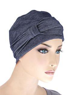 Comfort Cotton Sleep Cap & Headband Chemo Hat Beanie Turban for Cancer Dark Denim Turban Hat, Turban Headbands, Beanie Hats, Chemo Hair Loss, Bandeau, Headgear, Scarf Styles, Head Wraps, Cancer