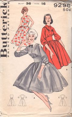 Butterick 9296  1960s Misses Wide Arched Midriff  Dress  Full Skirt womens vintage sewing pattern by mbchills