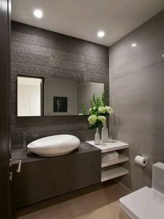 Bathroom Design, White Contemporary Powder Room Sinks With Unique Shape Design And Modern Faucet And Modern Bathroom Vanity Design And White Wonderful Vase With Beauty Flowers On It Also Minimalist Wall Design And Toilet: Powder Room Decorating Ideas at Y Bathroom Vanity Designs, Modern Bathroom Design, Contemporary Bathrooms, Modern House Design, Bathroom Interior, Bathroom Ideas, Bathroom Sinks, Bathroom Remodeling, Remodeling Ideas