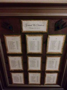table numbers on one master list framed  Wedding Planner: Peacock Premier Events