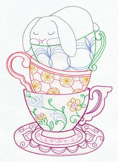 "This free embroidery design from Urban Threads is called ""Teacup Bunny"".  So cute for Easter."