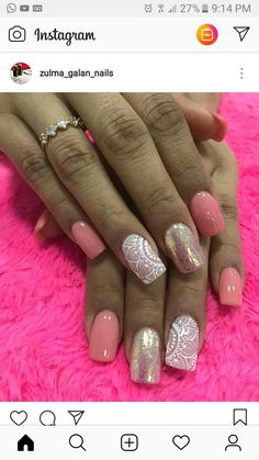 Hermosasuñas Fancy Nails, Diy Nails, Glitter Nails, Cute Nails, Acrylic Nail Designs, Nail Art Designs, Acrylic Nails, Spring Nails, Summer Nails