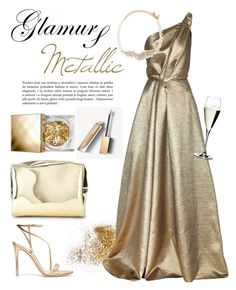 """""""Glamours Metallic Dress"""" by rever-de-paris ❤ liked on Polyvore featuring Gianvito Rossi, Burberry, Jimmy Choo, Carolina Herrera, Riedel, Forever 21, Kenneth Jay Lane, contestentry, polyvoreeditorial and metallicdress"""
