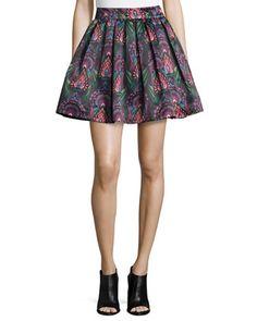 Stora Deco-Print Pleated Skirt  $330 by Alice + Olivia at Bergdorf Goodman.