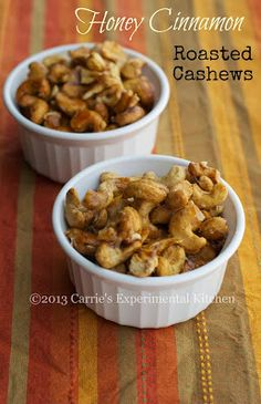 Honey Cinnamon Roasted CashewsCarrie's Experimental Kitchen |